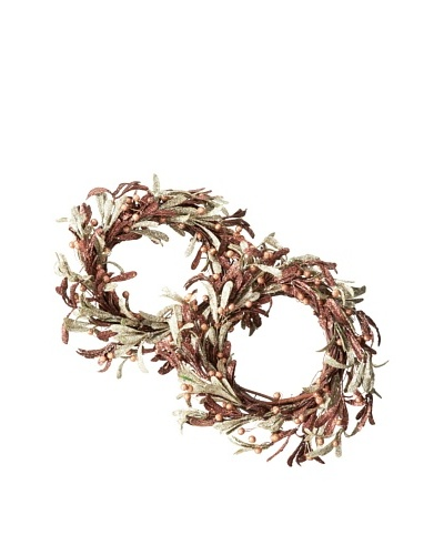 "Jim Marvin Set of 2 Glitter Mistletoe 9"" Wreaths, Brown"