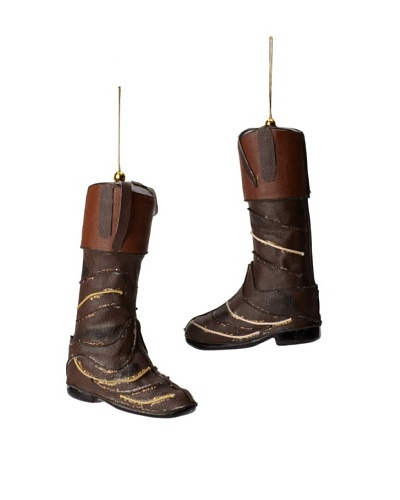 Jim Marvin Collection Set of 2 Leather Riding Boots Ornaments, Brown