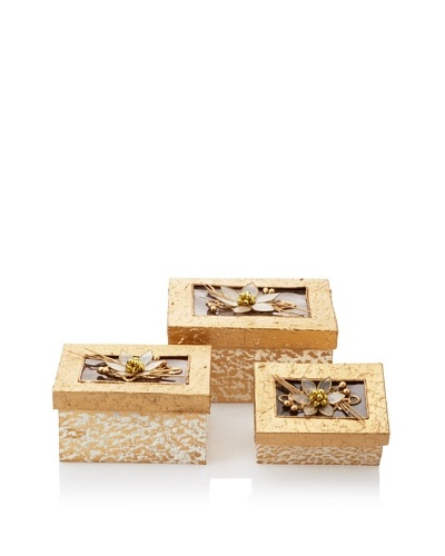 Jim Marvin Collection Set of 3 Rectangular Nested Boxes, Cream/Gold
