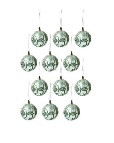 Jim Marvin Collection Set of 12 Dali Medallion Ball Ornaments, Celadon