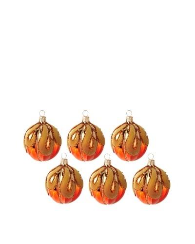 Jim Marvin Collection Set of 6 Flocked Melon Ball Ornament, Orange