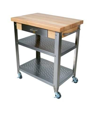John Boos Cucina Elegante Maple and Stainless Steel Utility Cart