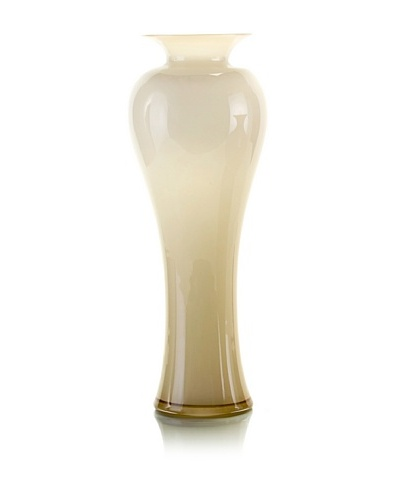 John-Richard Collection Blown Cased Glass Vase in Vanilla and Chocolate