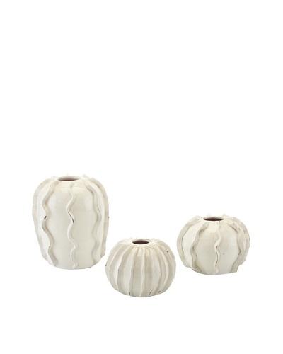 John-Richard Collection Set of 3 Rippled Ceramic Vases, CloudAs You See