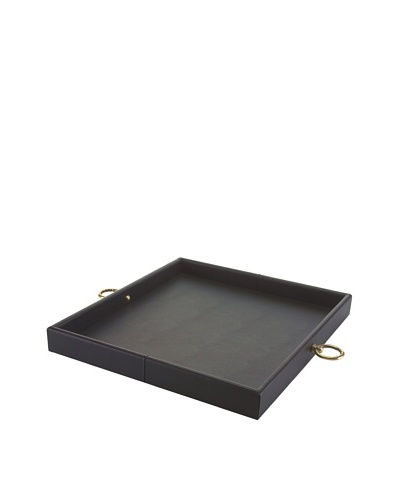John-Richard Collection Leather Tray with Circular Handles, Black/Brass