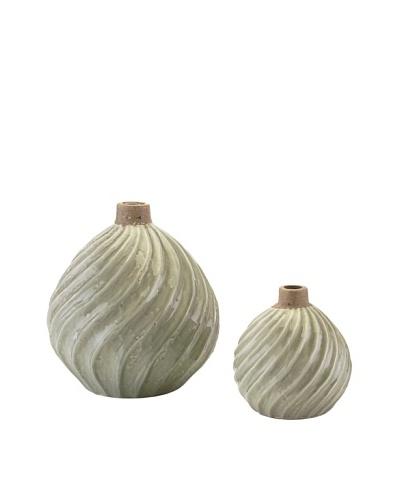 John-Richard Collection Set of 2 Ribbed Swirl Vases, Green Ice