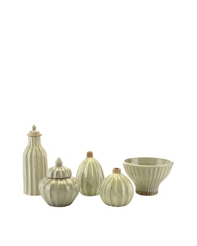 John-Richard Collection Set of 5 Ribbed Ceramic Collector's Pieces, Green IceAs You See
