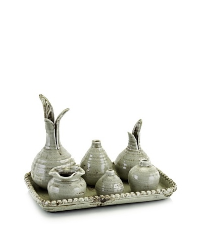 John-Richard Collection Set of 6 Vases on Ceramic Tray