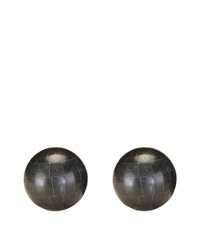 John-Richard Collection Set of 2 Polished Black Stones