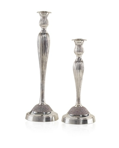 John-Richard Collection Set of 2 Silver Candle Holders