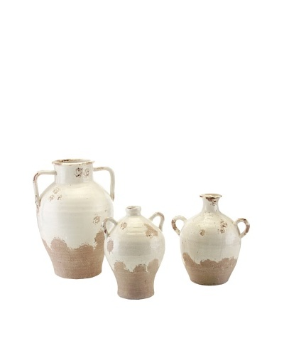 John-Richard Collection Set of 3 Clay Jars, White/Grey