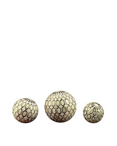 John-Richard Collection Set of Three Natural Bone Balls, Geometric