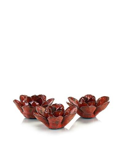 John-Richard Collection Set of Three Red Lotus Blossom Votives