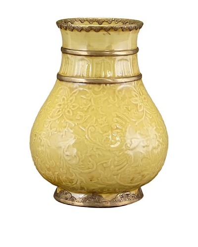 John-Richard Collection Hand-Painted Gold Vase with Brass Detailing