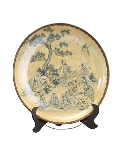 John-Richard Collection Chinoiserie Porcelain Charger with Stand