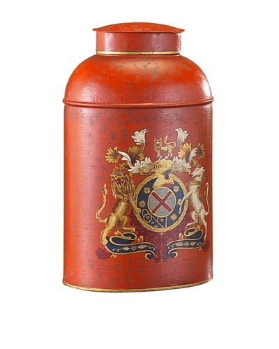 John-Richard Collection Oval Tole Can with Traditional Coat of Arms