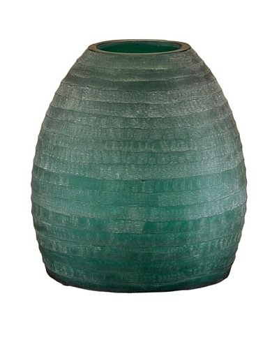John-Richard Collection Aqua Hand-Carved Striated Glass Vase