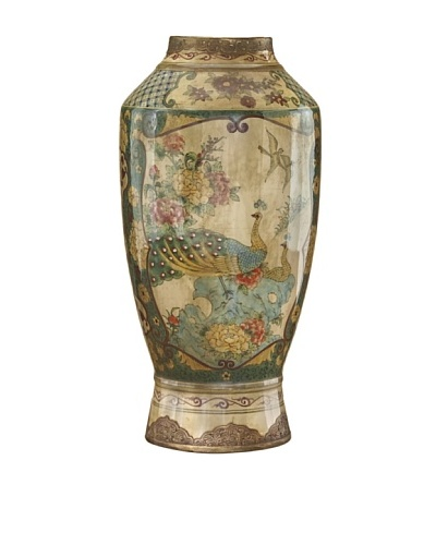 John-Richard Collection Porcelain Peacock Vase with Hammered Brass Detailing