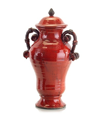 John-Richard Collection Red Glazed Urn with Handles
