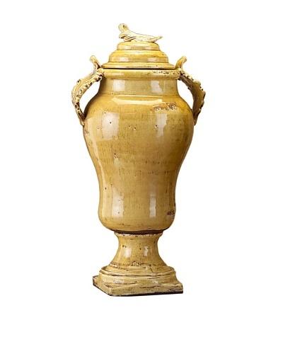 John-Richard Collection Hand Thrown Italian Mustard Vase with Lid