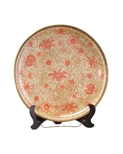 John-Richard Collection Flower-Motif Platter, Red/Brown