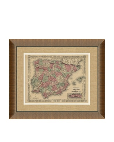 Johnson and Ward Antique (1860's) Map of Spain & Portugal, 24 x 26