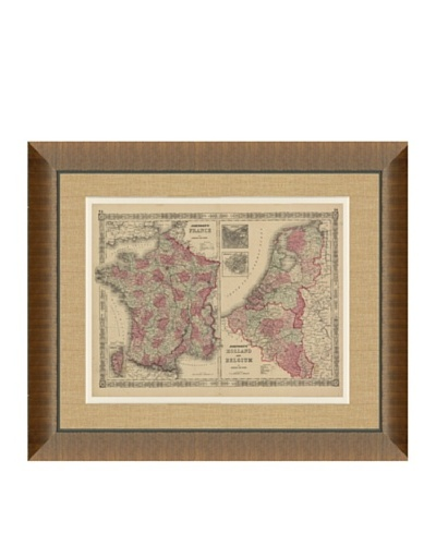 Johnson and Ward Antique (1860's) Map of France, Holland & Belgium, 28 x 34