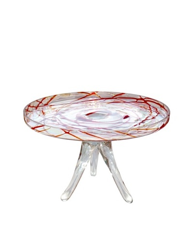 Jozefina Art Glass Jelly Cake Plate, Clear/RedAs You See