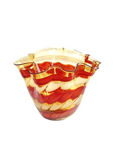 Jozefina Art Glass Amore Bowl, Amber/Red/Cream
