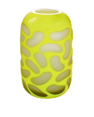 Jozefina Art Glass Fusion Vase, White/Yellow