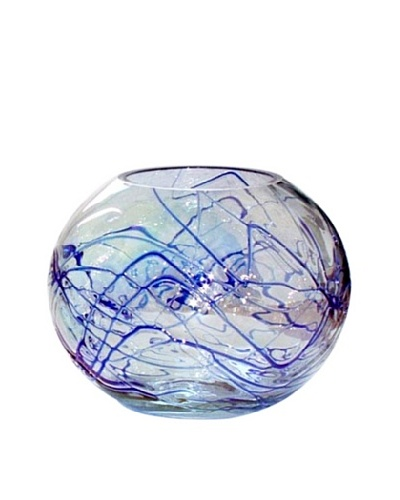 Jozefina Art Glass Azzuro Vase, Clear/Blue