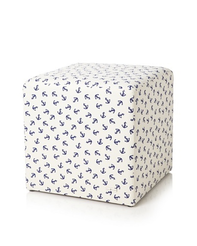 Julie Brown Indoor/Outdoor Square Ottoman, Navy Skipper