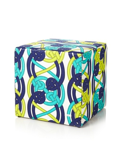 Julie Brown Indoor/Outdoor Square Ottoman, Navy Voyage