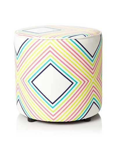 Julie Brown Indoor/Outdoor Round Ottoman, Sunshine