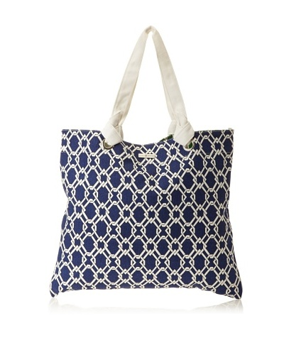 Julie Brown Reversible Shopper, Navy Pretzel/Green Pretzel