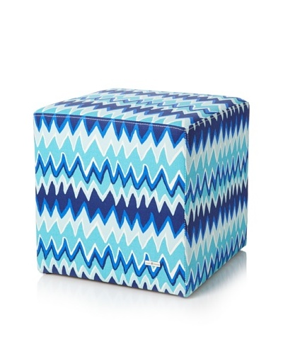 Julie Brown Indoor/Outdoor Square Ottoman, Blue Charlie