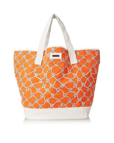 Julie Brown Women's Jenna Tote & Cosmetic Bag Bundle, Coral Turtle Bay