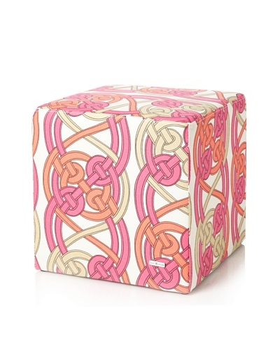 Julie Brown Indoor/Outdoor Square Ottoman, Pink Voyage