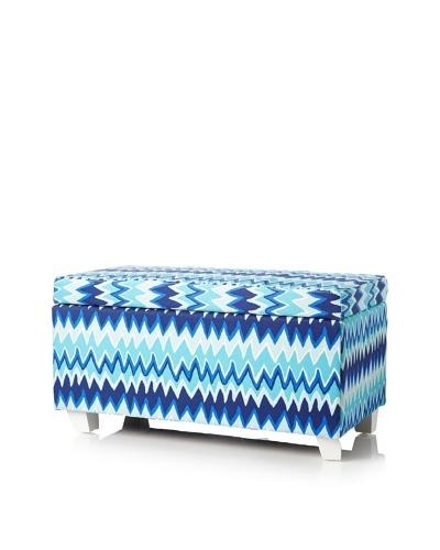 Julie Brown Indoor/Outdoor Long Storage Ottoman, Blue Charlie