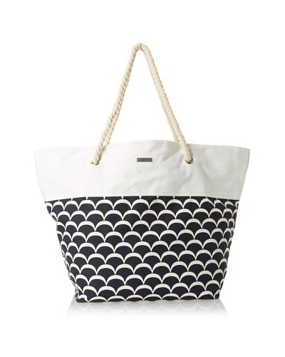 Julie Brown Women's Susan Tote & Cosmetic Bag Bundle, Navy Sea Scallop