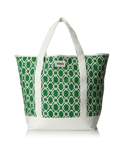 Julie Brown Beach Tote Bag, Green Pretzel