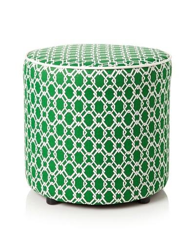 Julie Brown Indoor/Outdoor Round Ottoman, Green Pretzel