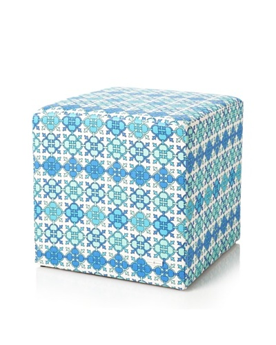 Julie Brown Indoor/Outdoor Square Ottoman, Blue Jimmie