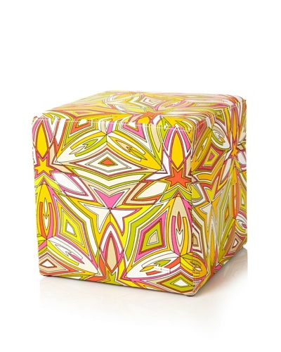 Julie Brown Indoor/Outdoor Square Ottoman, Peach SangriaAs You See