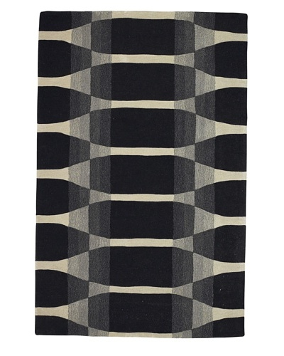 Kabir Handwoven Rugs Kontempo Rug [Black/Grey/Ivory]