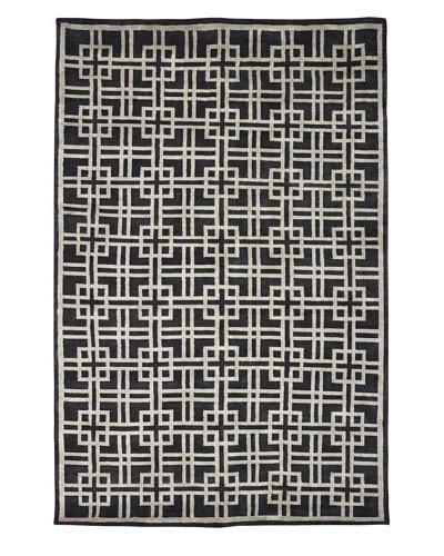 Kabir Handwoven Rugs  Linen Rug, Charcoal/Grey, 6' x 9'