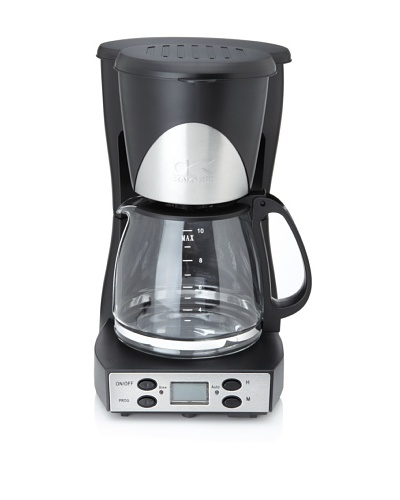 Kalorik 10-Cup Programmable Coffee Maker, Black/Stainless Steel