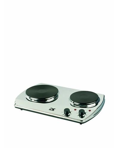 Kalorik 1400-Watt Portable Chrome Burner with 2 Cast Iron Cooking Plates [Chrome]
