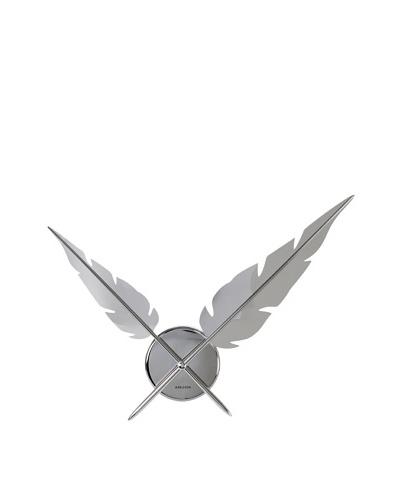 Karlsson Feathers Wall Clock, Chrome