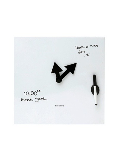 Karlsson Magnetic White Board Wall Clock, White